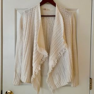 Hollister White Knitted Waterfall Cardigan